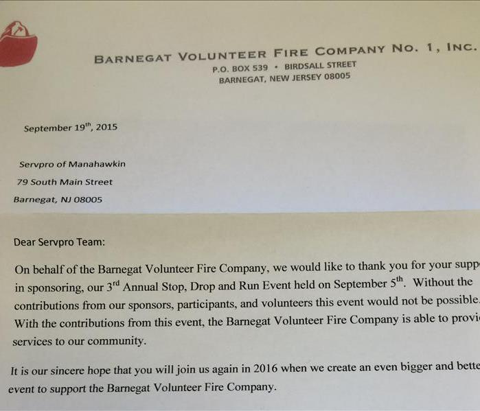Thank You Letter From The Barnegat Volunteer Fire Company Servpro